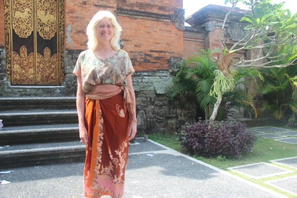 Barbara in her favorite sarong; photo by Donna Tang