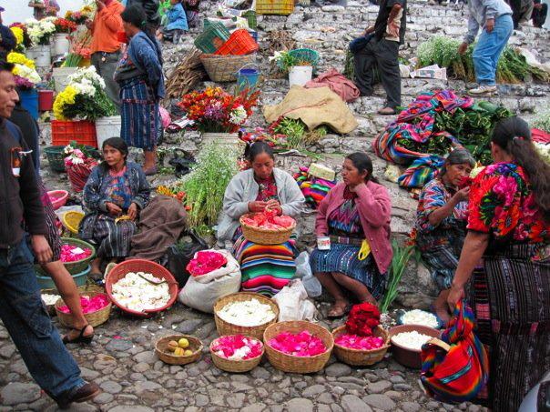Flower sellers in Chichicastenango, Guatemala