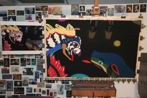 """Stalemate,"" 2013, soft pastel on sandpaper, 38"" x 58"""