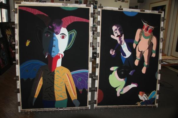 "Works in progress, soft pastel on sandpaper, 58"" x 38"""