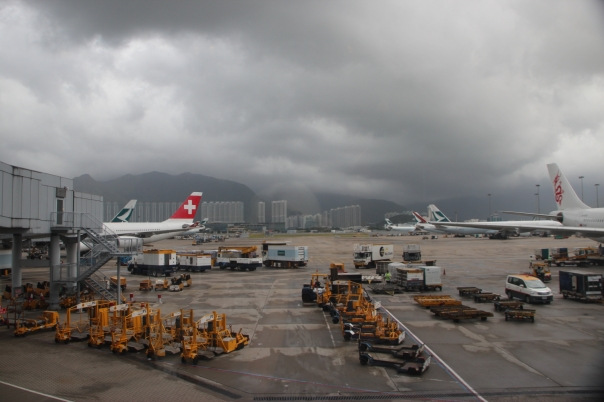 Hong Kong airport after a typhoon