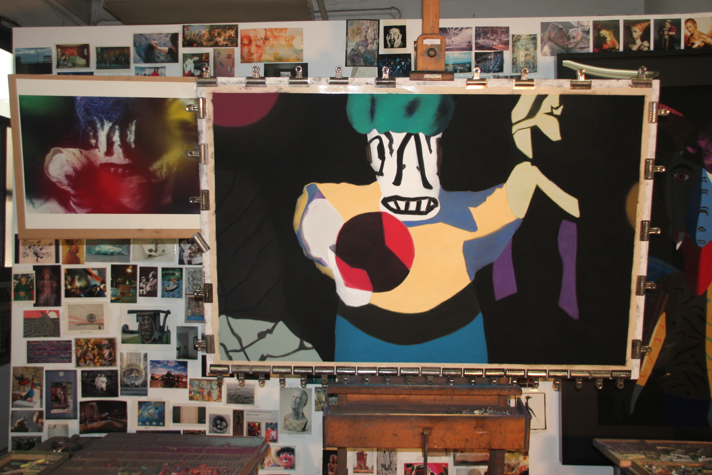 "Work in progress, soft pastel on sandpaper, 38"" x 58"""