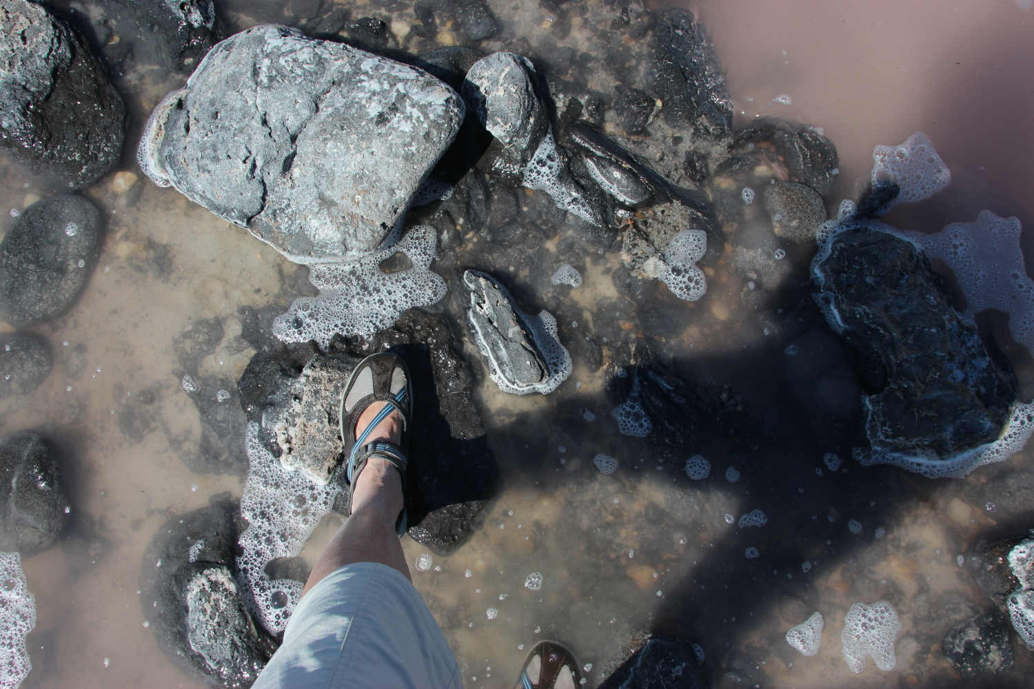 Walking on Spiral Jetty in the Great Salt Lake
