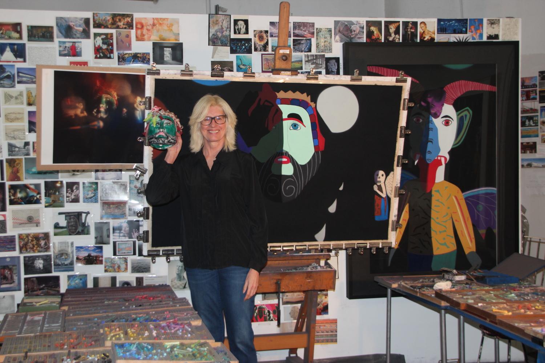 Barbara in her studio; Photo:  Elliott Jones