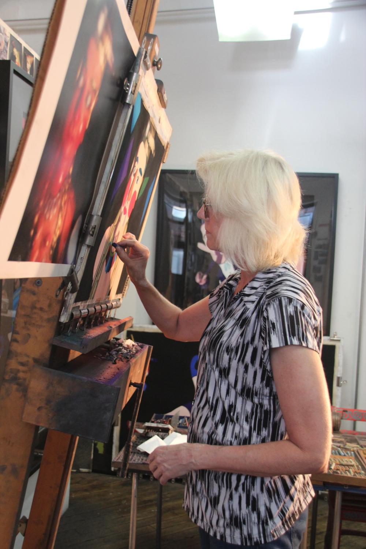 "Barbara at work on ""The Storyteller"""