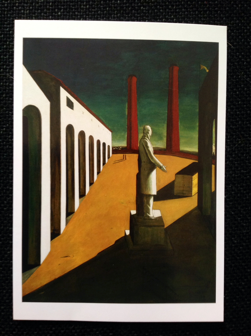 "Giorgio de Chirico, ""The Enigma of a Day,"" oil on canvas, 6' 1 1/4  x 55,"" MoMA"