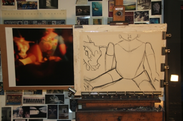 Initial charcoal sketch on sandpaper