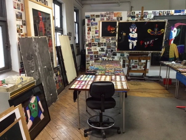 Barbara's studio with work in progress