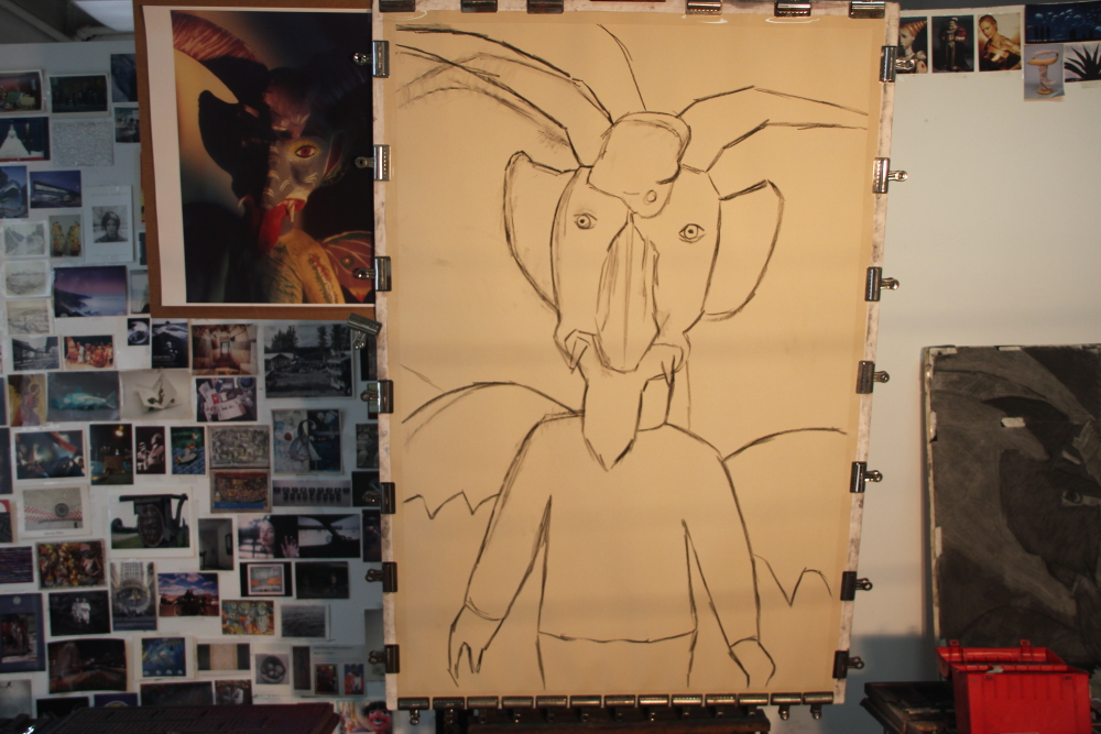 Preliminary charcoal sketch on sandpaper