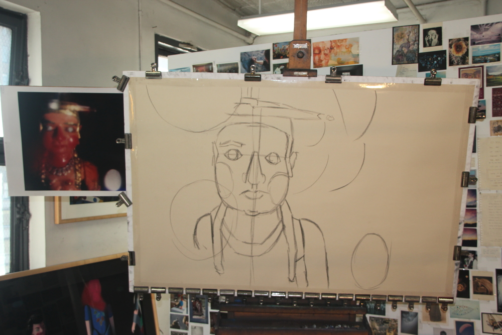 Roughed out in charcoal
