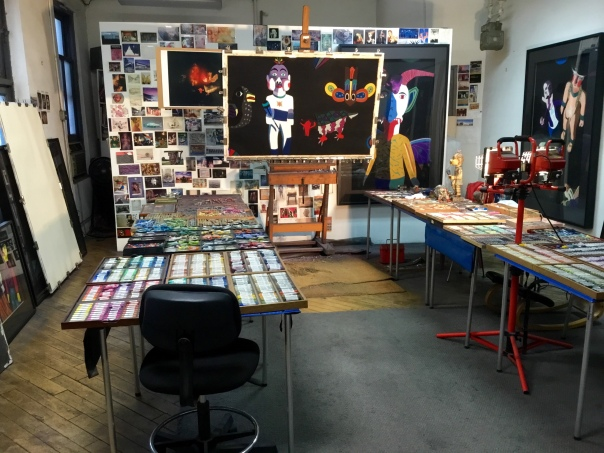 """Barbara's studio with """"White Star"""" in progress"""