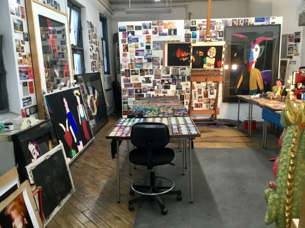 Barbara's studio with works in progress