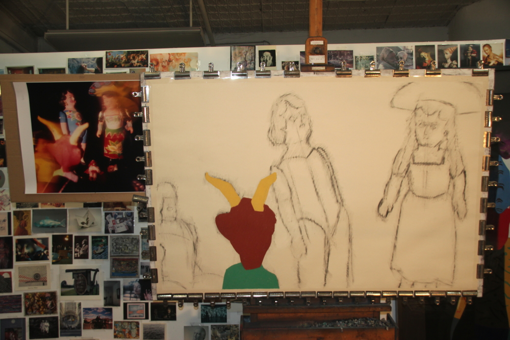 "Start of ""Conundrum,"" soft pastel on sandpaper, 38"" x 58"""