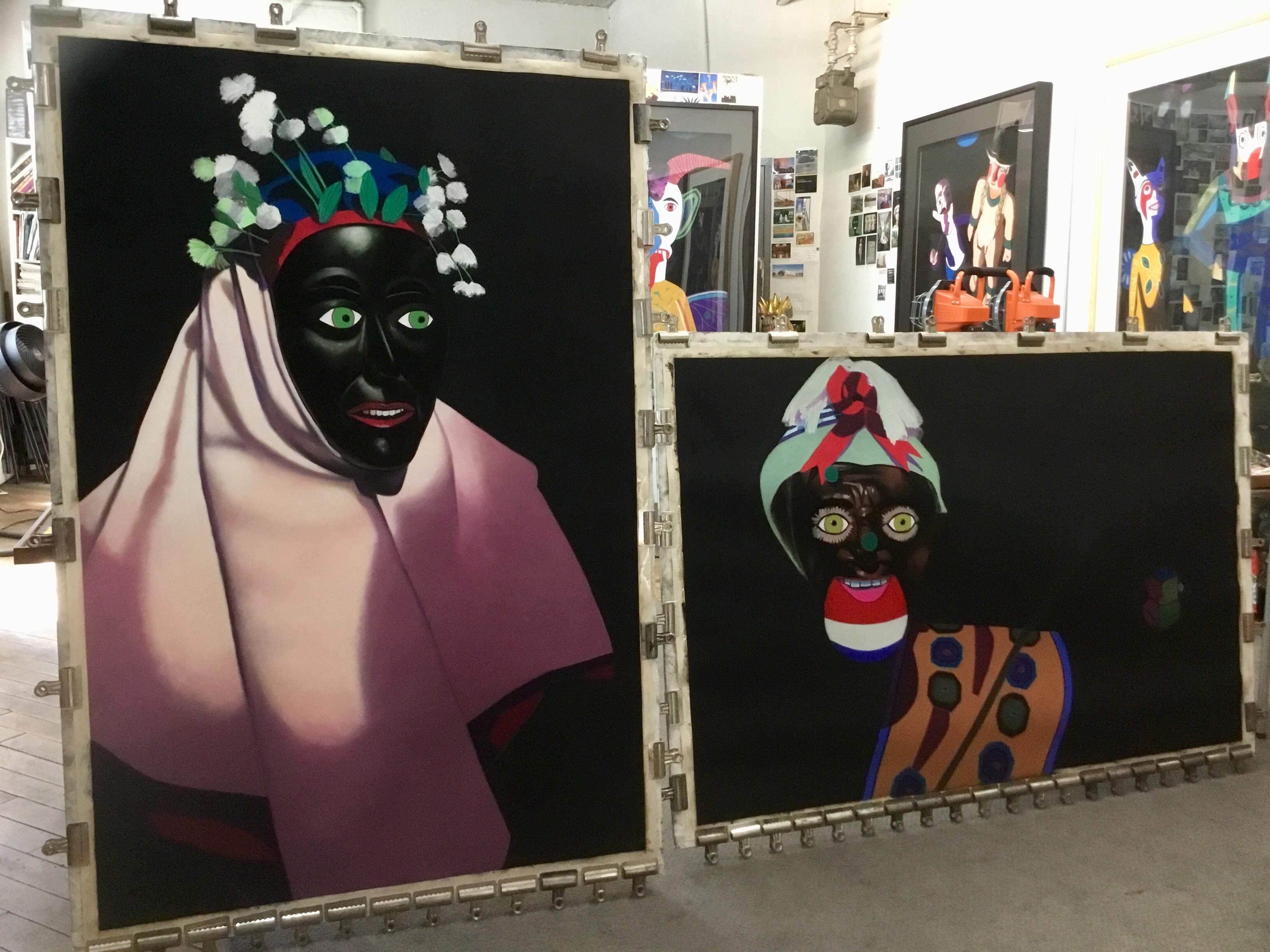 Barbara's studio with work in progress