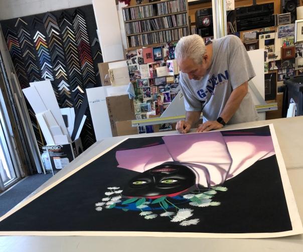 """Poseur,"" Soft Pastel on Sandpaper, 58"" x 38"" at the framer"