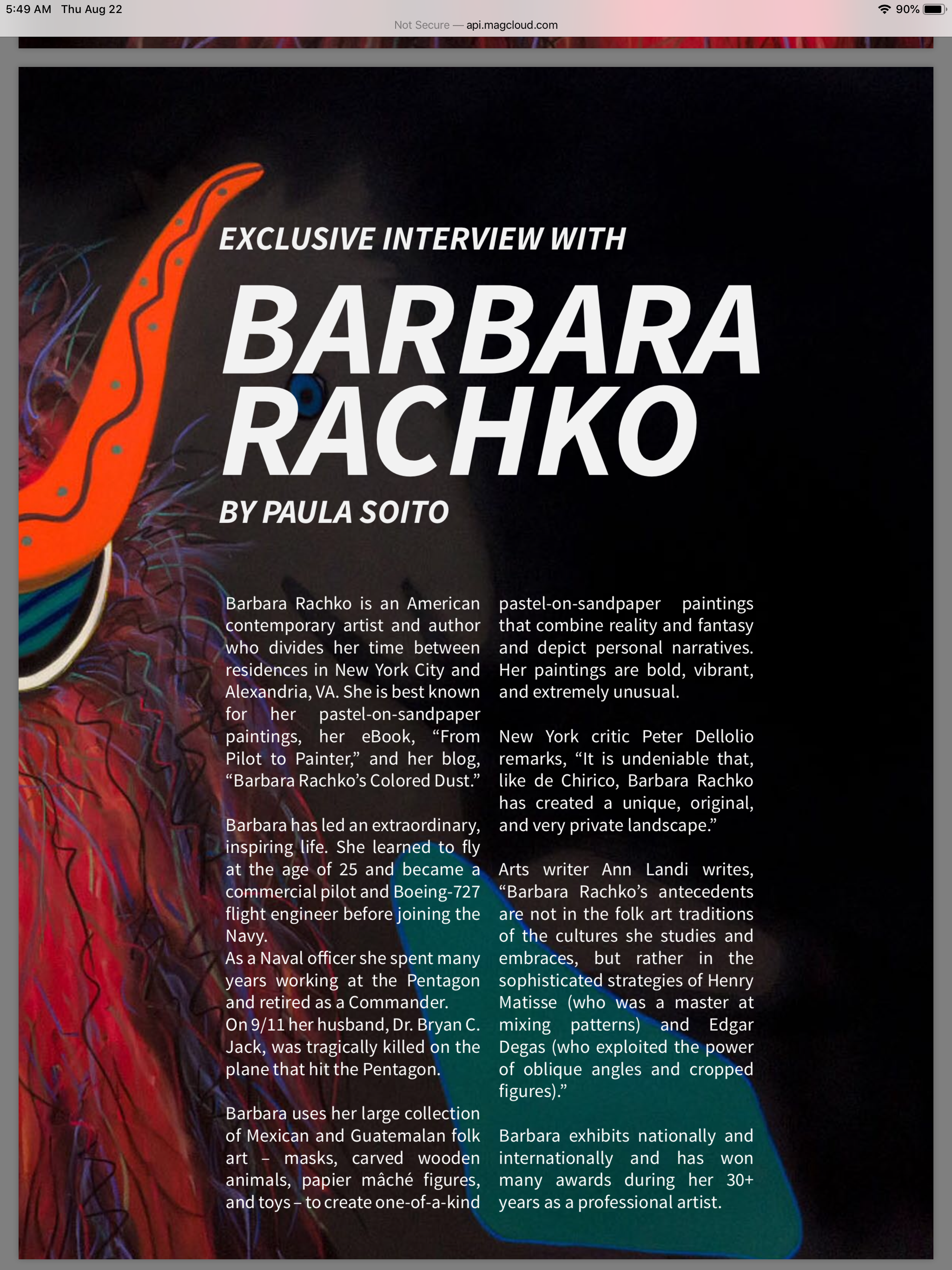 """First page of Barbara's interview in """"Art Market"""""""