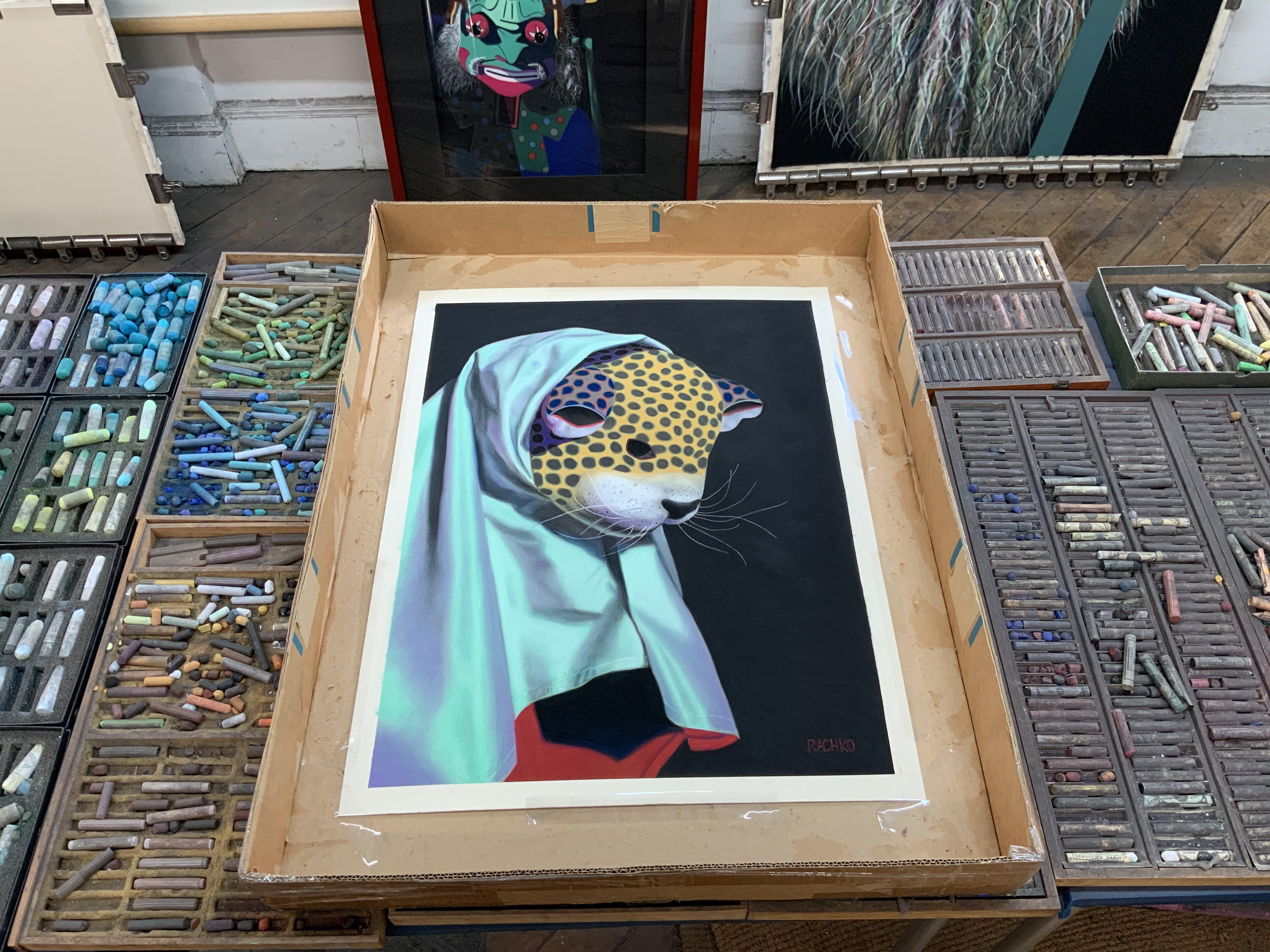 """Schemer,"" Soft Pastel on Sandpaper, 26"" x 20,"" packed up for transport to the framer"