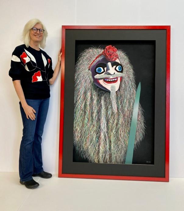 """With """"Avenger,"""" soft pastel on sandpaper, 58"""" x 38"""" image, 70"""" x 50"""" framed"""